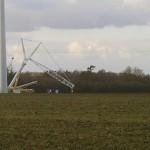 Grue sur le chantier de l\'éolienne de Gaprée