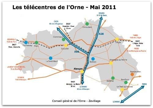 Carte des télécentres ornais