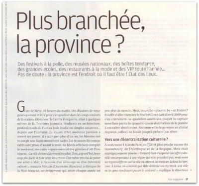 Zevillage dans TGV magazine