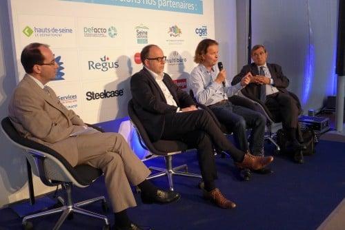 Jean-Christophe Brochet (GDF-Suez IT), Eric Blanchet (Adapt), Damien Lebret (CGET) et Francis Bergeron (SGS Group) au Tour de France du télétravail à La Défense
