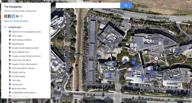 Siège de Google vu sur Google maps
