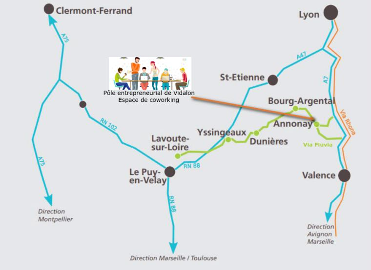 carte Vidalon sur la Via fluvia