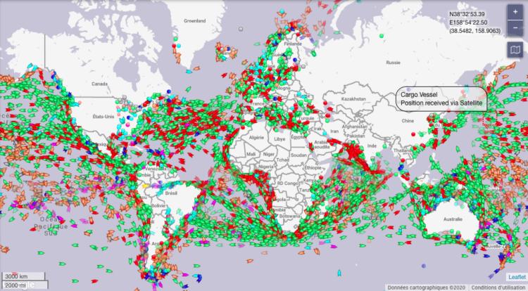 Trafic maritime sur Marine Traffic