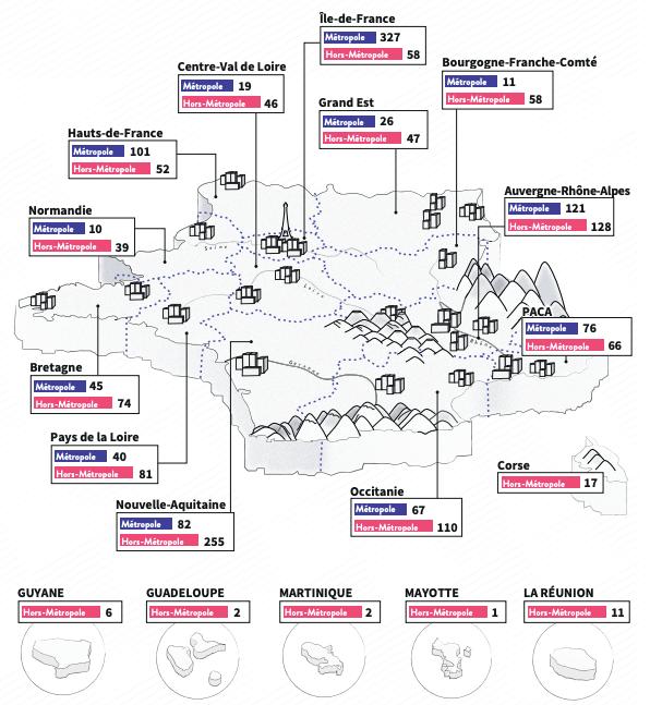 Répartition des tiers-lieux par région